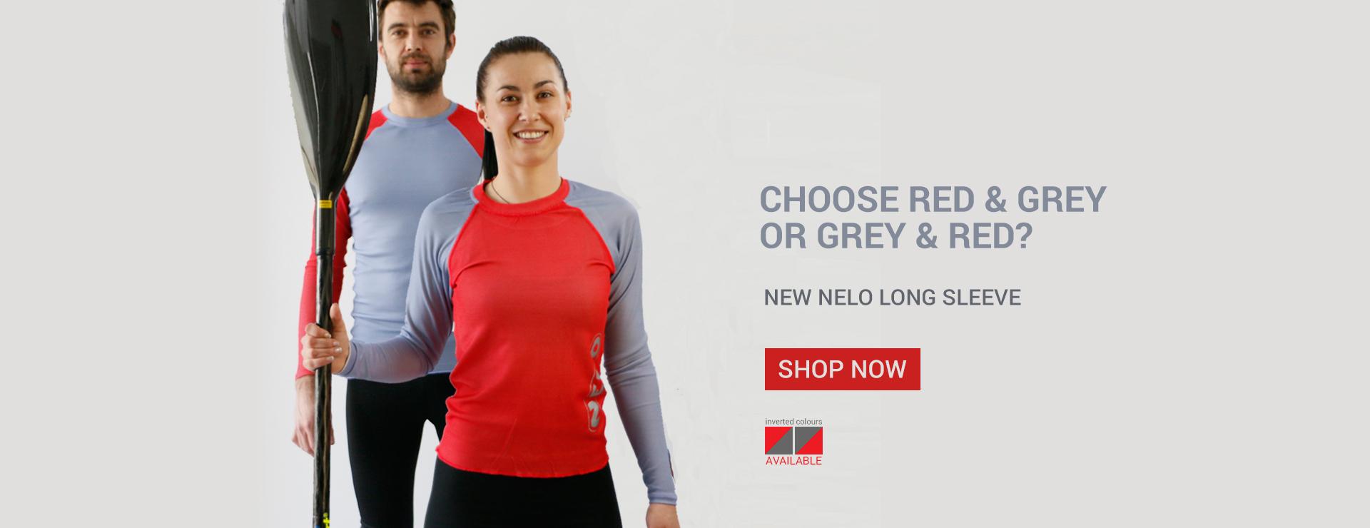 New Nelo Long Sleeve Red & Grey